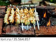 Куриный шашлык на шампурах на мангале. Стоковое фото, фотограф Лисовская Наталья / Фотобанк Лори