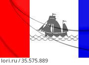 3D Flag of Pekela (Groningen), Netherlands. 3D Illustration. Стоковое фото, фотограф Zoonar.com/Inna Popkova / easy Fotostock / Фотобанк Лори