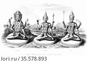 The Hindu Trinity (Trimurti): left to right; Brahma, Vishnu and Shiva... Редакционное фото, агентство World History Archive / Фотобанк Лори