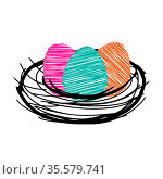 Three pink orange green scribble Vector Easter eggs are in the nest isolated on a white background. Стоковая иллюстрация, иллюстратор Татьяна Куклина / Фотобанк Лори