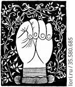 Chiromancy: Lines of the closed hand from Andre Corvo 'L'Art de Chyromance... Редакционное фото, агентство World History Archive / Фотобанк Лори