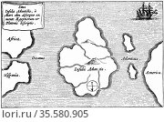 Legendary island of Atlantis described by Plato and said to lie just... Редакционное фото, агентство World History Archive / Фотобанк Лори