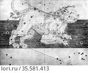 Constellation of Leo from Johannes Bayer 'Uranometria' Ulm 1723. ... Редакционное фото, агентство World History Archive / Фотобанк Лори