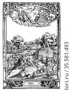 Luna: from series of prints executed 1531 by Hans Sebold Beham (1500... Редакционное фото, агентство World History Archive / Фотобанк Лори