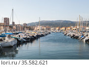 Sailing yachts moored in marina of Ajaccio (2015 год). Редакционное фото, фотограф EugeneSergeev / Фотобанк Лори