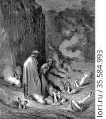 Dante, guided by Virgil, in third gulf of the eighth circle, observes... Редакционное фото, агентство World History Archive / Фотобанк Лори
