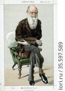 Charles Darwin (1809-82) English naturalist. Evolution by Natural... Редакционное фото, агентство World History Archive / Фотобанк Лори