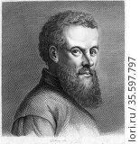 Andreas Vesalius (1514-1564) Flemish anatomist. Engraving from J.... Редакционное фото, агентство World History Archive / Фотобанк Лори