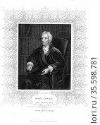 John Locke (1632-1704) English philosopher. Engraving portrait by... Редакционное фото, агентство World History Archive / Фотобанк Лори