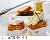 Canape with soft blue cheese. Стоковое фото, фотограф Яков Филимонов / Фотобанк Лори