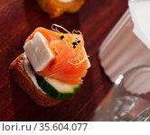 Canape with salted salmon. Стоковое фото, фотограф Яков Филимонов / Фотобанк Лори