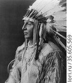 White Shield, Arikara Native  Indian  c1908. By Edward Curtis 1868... Редакционное фото, агентство World History Archive / Фотобанк Лори