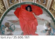 Northwest Corridor, First Floor. Mural depicting the muse Melpomene... Редакционное фото, агентство World History Archive / Фотобанк Лори