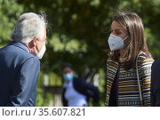 Queen Letizia of Spain attends working meeting with the Mutua Madrilena... Редакционное фото, фотограф ©MANUEL CEDRON / age Fotostock / Фотобанк Лори