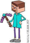 Cartoon Illustration of Boy in Steve from Minecraft Costume at Halloween... Стоковое фото, фотограф Zoonar.com/Igor Zakowski / easy Fotostock / Фотобанк Лори