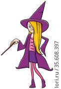 Cartoon Illustration of Girl in Witch Costume at Halloween Party or... Стоковое фото, фотограф Zoonar.com/Igor Zakowski / easy Fotostock / Фотобанк Лори
