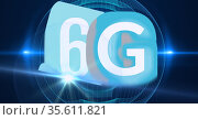 Composition of the word 6g over a blue ball with a grid in background. Стоковое фото, агентство Wavebreak Media / Фотобанк Лори