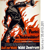 German political poster for 1919 election.  Text appeals to Düsseldorf... Редакционное фото, агентство World History Archive / Фотобанк Лори