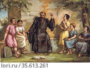 Saint Benedict of Nursia (480-547) Italian founder of Western  Christian... Редакционное фото, агентство World History Archive / Фотобанк Лори