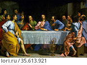 'The Last Supper' by Philippe de Champaigne (1602-1674) French painter. Редакционное фото, агентство World History Archive / Фотобанк Лори