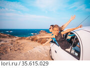 Family on vacation travel by car. Summer holiday and car travel concept. Стоковое фото, фотограф Дмитрий Травников / Фотобанк Лори