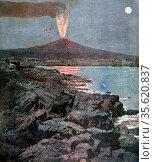 Eruption of Mount Vesuvius, Bay of Naples, Italy, 18 July 1892. From... Редакционное фото, агентство World History Archive / Фотобанк Лори