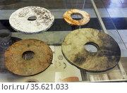 Chinese Neolithic Jade Bi Discs, Xia Dynasty (2100-1600BC) Stone ... Редакционное фото, агентство World History Archive / Фотобанк Лори