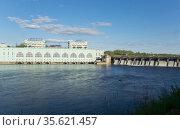 Volkhov HYDROELECTRIC POWER station-hydro power station on river Volkhov, Russia. Стоковое фото, фотограф Куликов Константин / Фотобанк Лори