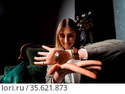 Woman in business suit holding crystal ball in her hands. Стоковое фото, фотограф Zoonar.com/Oleksii Hrecheniuk / easy Fotostock / Фотобанк Лори