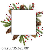 Christmas white blank card with copy space and decor of fir tree branch... Стоковое фото, фотограф Zoonar.com/Ivan Mikhaylov / easy Fotostock / Фотобанк Лори