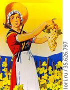 Poster by Edouard Elzingre, La Genevoise, Vin blanc de Geneve, ca... (2014 год). Редакционное фото, фотограф Danuta Hyniewska / age Fotostock / Фотобанк Лори