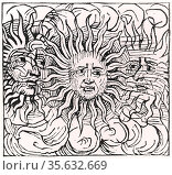 'Parhelia or mock suns observed in the 12th century. Woodcut from... Редакционное фото, агентство World History Archive / Фотобанк Лори