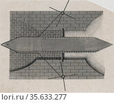 Bird's eye view of rolling bridge or inclined plane to raise boat on a canal.  Engraving. Редакционное фото, агентство World History Archive / Фотобанк Лори
