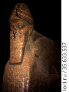 Winged human - Headed bull. Assyrian, About 865-860 BC. From Nimrud... Редакционное фото, агентство World History Archive / Фотобанк Лори