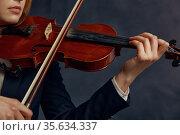 Female violonist with violin, performance on stage. Стоковое фото, фотограф Tryapitsyn Sergiy / Фотобанк Лори