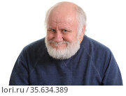old man with insidious tricky fake smile, isolated on withe. Стоковое фото, фотограф Сергей Старуш / Фотобанк Лори