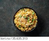 Pakistani chicken biryani rice, top view. Стоковое фото, фотограф Ольга Сергеева / Фотобанк Лори