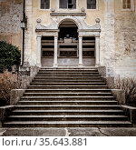 A long stair create the perspective to this 15th century Italian chapel... Стоковое фото, фотограф Zoonar.com/Paolo Gallo / easy Fotostock / Фотобанк Лори