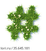Grass font Hashtag sign 3D rendering illustration isolated on white... Стоковое фото, фотограф Zoonar.com/Milic Djurovic / easy Fotostock / Фотобанк Лори