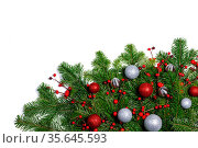 Christmas New year decoration frame isolated on white , fir tree branches... Стоковое фото, фотограф Zoonar.com/Ivan Mikhaylov / easy Fotostock / Фотобанк Лори