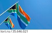 3D rendering of the national flag of South Africa waving in the wind... Стоковое фото, фотограф Zoonar.com/Aleksey Butenkov / easy Fotostock / Фотобанк Лори