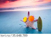 Starfish surfer on sea beach and beautiful sunset on Bali. Стоковое фото, фотограф Zoonar.com/Ivan Mikhaylov / easy Fotostock / Фотобанк Лори