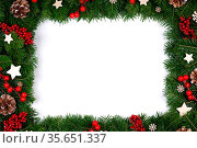 Christmas Border frame of tree branches on white background with copy... Стоковое фото, фотограф Zoonar.com/Ivan Mikhaylov / easy Fotostock / Фотобанк Лори