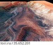 Mars Express High Resolution Stereo Camera image of Hebes Chasma.... Редакционное фото, агентство World History Archive / Фотобанк Лори