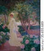 José Benlliure Gil (1856-1937). My daughter in the garden ca. 1920... (2019 год). Редакционное фото, фотограф Ruddy Gold / age Fotostock / Фотобанк Лори