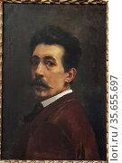 Joaquín Agrasot and Juan (1836-1919). Self portrait. 1887. Oil on... (2019 год). Редакционное фото, фотограф Ruddy Gold / age Fotostock / Фотобанк Лори