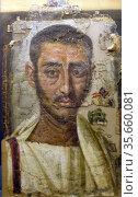 Male figure portrait from an encaustic funerary painting Egypt (Greco... Редакционное фото, агентство World History Archive / Фотобанк Лори