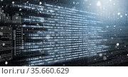 Falling codes light trails, over computer code, program coding and technology concept. Стоковое фото, агентство Wavebreak Media / Фотобанк Лори