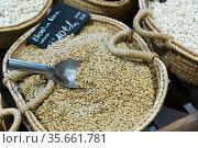 Raw lentils in wicker basket. Стоковое фото, фотограф Яков Филимонов / Фотобанк Лори