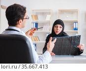 Muslim woman visiting doctor for regular check-up. Стоковое фото, фотограф Elnur / Фотобанк Лори